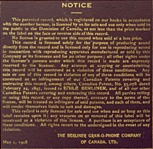 Vignette de brevet longue de la Berliner Gram-o-phone Company of Canada, vers 1908