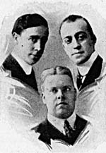 Photo du Sterling Trio, vers 1919. De gauche à droite : Albert Campbell, Henry Burr, John H. Meyer