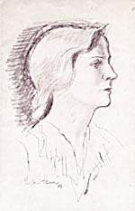Sketch of Johana Harris by Boardman Robinson, 1943
