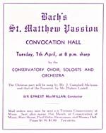 Advertisement for Bach's SAINT MATTHEW PASSION, at Massey Convocation, Tuesday, April 7, 1936