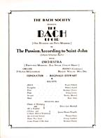 Title page from the program for a Bach Society concert featuring Hubert Eisdell, 1933