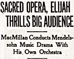 Concert review of a production that featured Eisdell, TORONTO DAILY STAR, November 1937