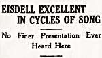 Concert review entitled EISDELL EXCELLENT IN CYCLES OF SONG, from the TORONTO DAILY STAR, December 1933