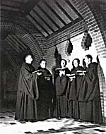 Photograph of the choir of the Abbey of Saint-Benoît-du-Lac, circa 1947