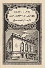 Page couverture du programme du BROOKLYN ACADEMY OF MUSIC, SEASON OF 1927-1928