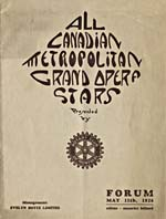 Programme cover for ALL CANADIAN METROPOLITAN GRAND OPERA STARS, presented by the Rotary Club, Montréal, May 11, 1926