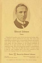 Page 9 of programme CANADIAN METROPOLITAN OPERA STARS,  presented by the Rotary Club, Montréal, illustrating Edward Johnson, May 11, 1926