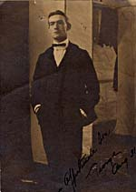 Photograph of George MacFarlane, hands in pockets, inscription AFFECTIONATE SON GEORGE
