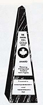 Illustration of Gold Leaf Award, reading THE ANNUAL RPM GOLD LEAF AWARD HONOURING DISTINGUISHED CANADIAN MUSIC FIGURES