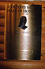 Photograph of Stan Klees plaque, Country Music Hall of Honour, 1995