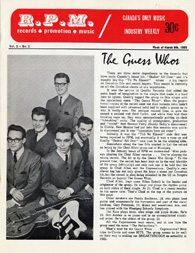 Image of a magazine cover featuring a black and white photograph of and an article about The Guess�Whos