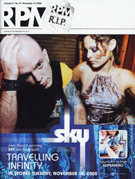 "Image of a magazine cover featuring a colour photograph of Sky and their new album, ""Travelling Infinity"""