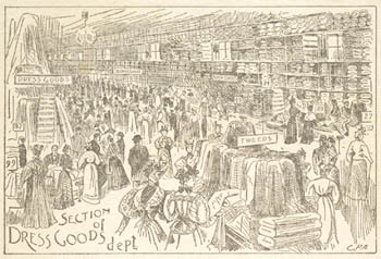 Illustration of a department store with the words SECTION OF DRESS GOODS DEPT.