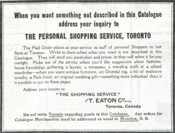 Advertisement for The Shopping Service in the Eaton's Spring and Summer 1926 catalogue