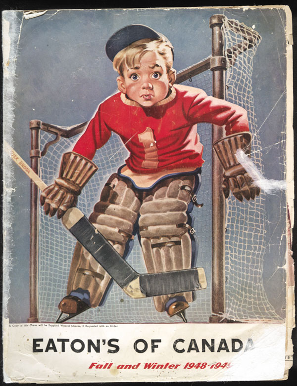 Drawing of a boy playing goalie in front of hockey net