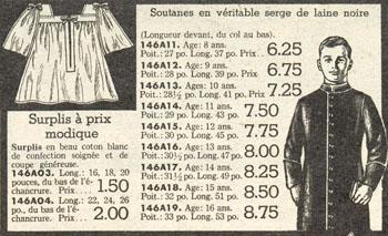 Advertisement for cassocks and surplices, Dupuis Frères - Automne et hiver 1945-1946 catalogue