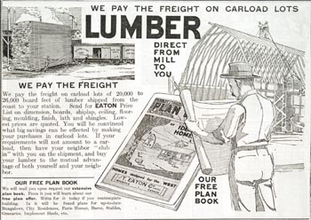 Advertisement with information about ordering the price list for carload lots of lumber, Eaton's Fall and Winter 1918-19 catalogue