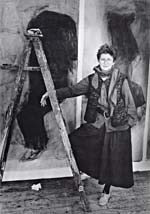 Photograph of Betty Goodwin with triptych