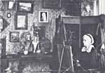 Photograph of Charlotte M.B. Schreiber in her studio