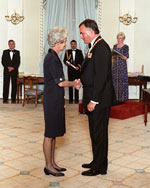 Photograph of Dr. Lucille Teasdale receiving the Order of Canada from the Right Honourable Ramon John Hnatyshyn, Governor General of Canada, April 17, 1991
