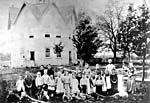 Photograph of octagonal school in Mount Pleasant, Ontario, ca. 1880