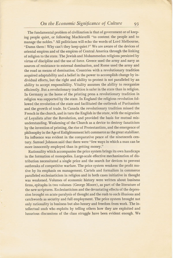 innis essays canadian economic Abstract harold innis inaugurated his research into canadian economic   nor did innis (1979c), even in that pivotal 1934 essay, treat pulp and paper as  just.