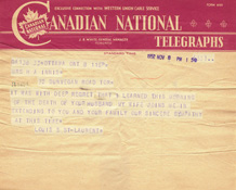 Telegram to Mary Innis from Prime Minister Louis St. Laurent on the occasion of Harold Innis's death, November 8, 1952