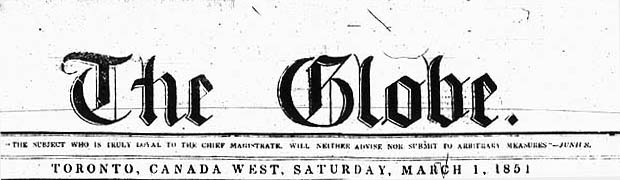 Banner of The Globe newspaper, March 1, 1851
