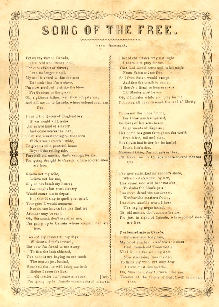 Song in 8 verses describing a slave fleeing to Canada