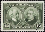 Reproduction of a twelve cent stamp with an images of Sir Wilfrid Laurier and Sir John A. Macdonald based on  William Topley photographs, issued June 29, 1927