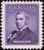 Reproduction of a four cent stamp with an image of Sir John David Thompson based on a William Topley photograph, issued November 1, 1954