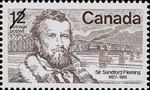 Reproduction of a twelve cent stamp with an image of Sir Sandford Fleming based on a William Topley photograph, issued September 16, 1977