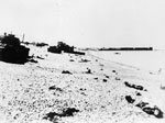 Canadian casualties litter the Dieppe beach among ruined and abandoned tanks.