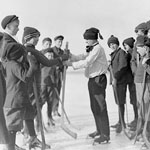 Photograph of a group of boys choosing sides for hockey on Sarnia Bay, Ontario, 1909