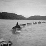 Photograph of a line of umiaks tied together with rope, carrying Inuit to the whale hunt, Pangnirtung, Northwest Territories, 1936
