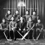 Photograph of the eight-member Asahi Athletic Club ice hockey team with their manager, 1919-1920