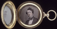 Daguerreotype portrait of Sir�John�A.�Macdonald encased in a round, gold locket