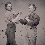 Tintype photograph of two men pretending to box, date unknown