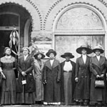 Photograph of a group of Black women standing in front of the Y.W.C.A. boarding house, Toronto, circa 1913-1917
