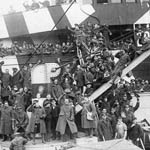 Photograph of demobilized soldiers returning home on board the H.M.T OLYMPIC, Halifax, Nova Scotia, circa 1919
