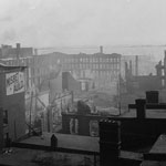 Photograph of buildings near the waterfront after the fire of a Toronto factory, Toronto, 1904