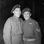 Photograph of two aboriginal men, Morris and Tommy Prince, in military uniform, London, England, 1945