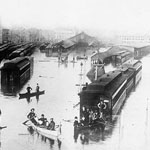 Photograph of a flood at the Old Bonaventure Grand Trunk Railway Station, Montréal, 1886
