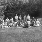 Photograph of a group of Aboriginal people playing a game, 1915