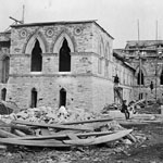 Photograph of the construction of Parliament Buildings, Centre Block, rear view, Ottawa, Ontario, 1862