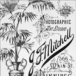 Advertisment for photographic art studio of J.F. Mitchell, Winnipeg, Manitoba, unknown date