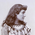 Photograph of poet Tekahionwake (Pauline E. Johnson) in traditional clothing, circa 1895