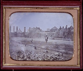 Photograph of the ruins of the Molson family brewery, Montréal, after the fire of 1858