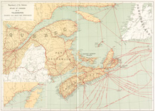 Map of telegraph lines in Quebec and the Maritime provinces, ATLAS OF CANADA, 1906