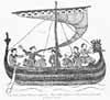 Élément graphique : Image de la tapisserie Bayeux. Navire viking avec tête de dragon et voiles rayées